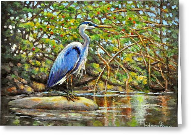 Salmon Paintings Greeting Cards - Blue Heron with Berry Bush Greeting Card by Eileen  Fong