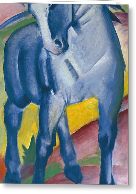 Expressionist Horse Greeting Cards - Blue Horse Greeting Card by Franz Marc