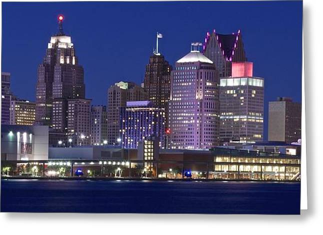 River View Greeting Cards - Blue Hour in Detroit Greeting Card by Frozen in Time Fine Art Photography