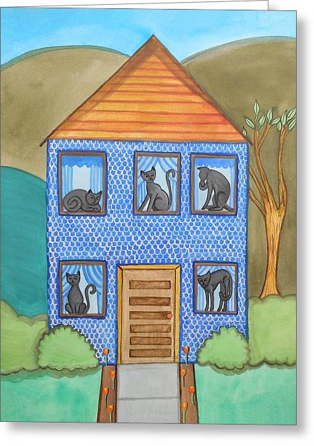 Black Cat Hills Greeting Cards - Blue House in the Hills Cat in Every Window Greeting Card by Jo Potocki