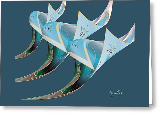 Cloth Greeting Cards - Blue  Greeting Card by Iris Gelbart