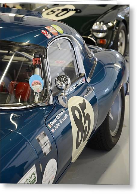Jaguars Greeting Cards - Blue Jaguar racer Greeting Card by Graham Smith