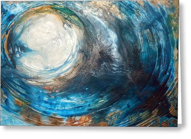 Large Scale Mixed Media Greeting Cards - Blue Moon Greeting Card by Holly Anderson