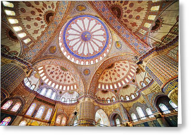Blue Mosque Interior Greeting Card by Artur Bogacki