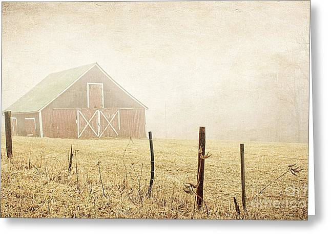 Haze Photographs Greeting Cards - Blue Ridge Farm Greeting Card by Darren Fisher