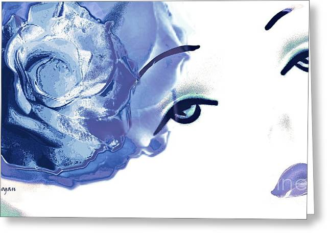 Artography Greeting Cards - Blue Rose Lipstick Girl Greeting Card by Jayne Logan Intveld