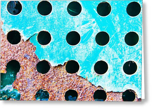 Border Photographs Greeting Cards - Blue rusty metal Greeting Card by Tom Gowanlock