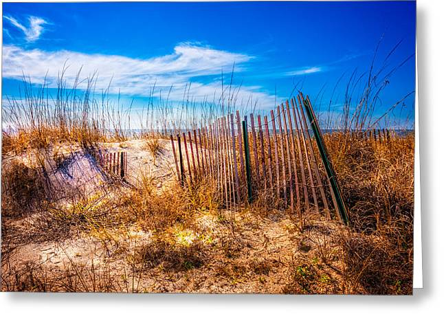 Blue Sky Over The Dunes Greeting Card by Debra and Dave Vanderlaan