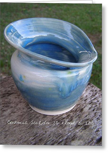 Hand Thrown Pottery Greeting Cards - Blue Skys Greeting Card by Sandi Floyd
