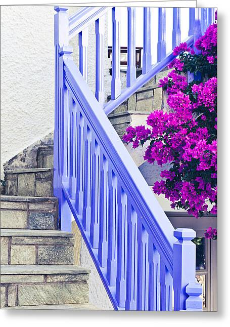 Wooden Stairs Greeting Cards - Blue stair rail Greeting Card by Tom Gowanlock