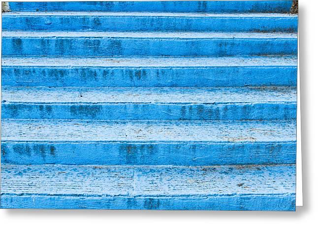 Blue Steps Greeting Card by Tom Gowanlock
