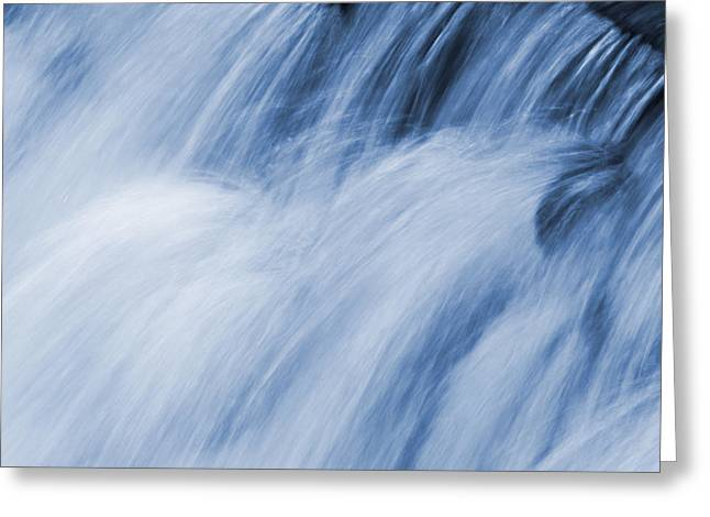 Abstract Movement Greeting Cards - Blue Toned Rushing Water Greeting Card by Donald  Erickson
