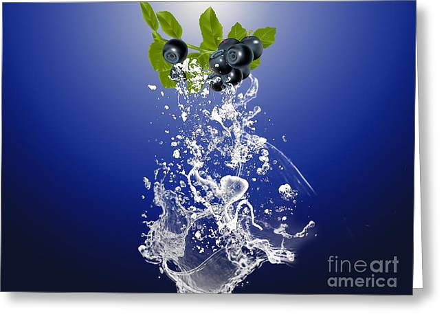 Blueberry Splash Greeting Card by Marvin Blaine