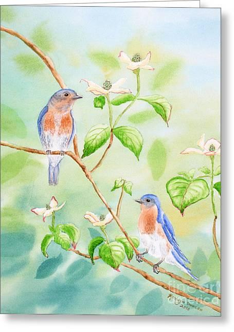 Bluebird Greeting Cards - Bluebirds In Dogwood Tree Greeting Card by Kathryn Duncan