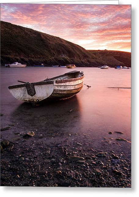 Fishing Boats Greeting Cards - Boat at Sunset Greeting Card by Chris Dale