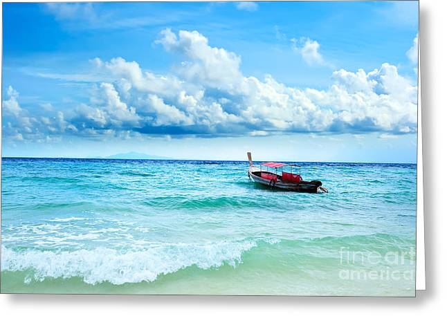 Water Vessels Greeting Cards - Boat Greeting Card by MotHaiBaPhoto Prints