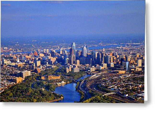 1 Boathouse Row Philadelphia Pa Skyline Aerial Photograph Greeting Card by Duncan Pearson