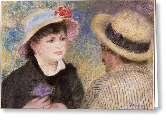 Couple Pastels Greeting Cards - Boating Couple Greeting Card by Auguste Renoir