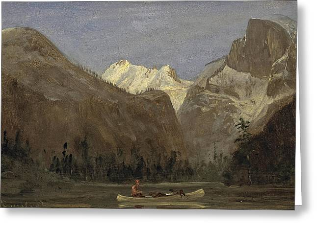Canoe Paintings Greeting Cards - Boating through Yosemite Valley with Half Dome in the Distance Greeting Card by Albert Bierstadt