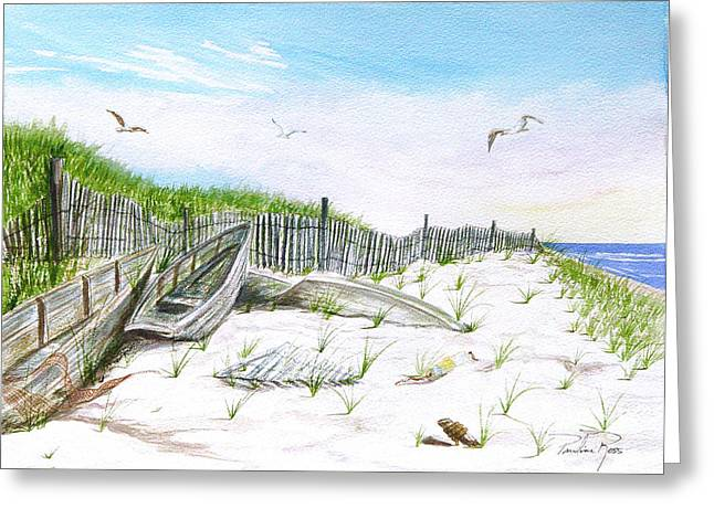 Boats In The Sand Greeting Card by Pauline Ross