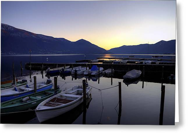 Ticino Greeting Cards - Boats In The Sunset Greeting Card by Joana Kruse