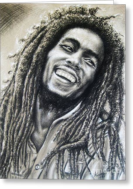 Bear Pastels Greeting Cards - Bob Marley Greeting Card by Anastasis  Anastasi