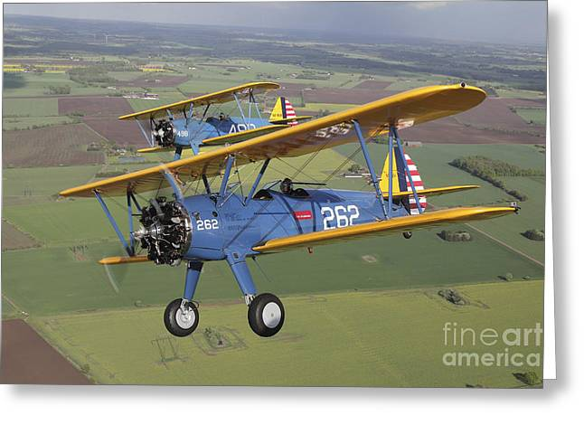 Boeing Stearman Model 75 Kaydet In U.s Greeting Card by Daniel Karlsson