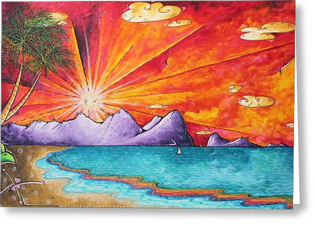 Licensor Greeting Cards - Bold Colorful Tropical Sunset Art Original Beach Painting by Megan Duncanson Greeting Card by Megan Duncanson