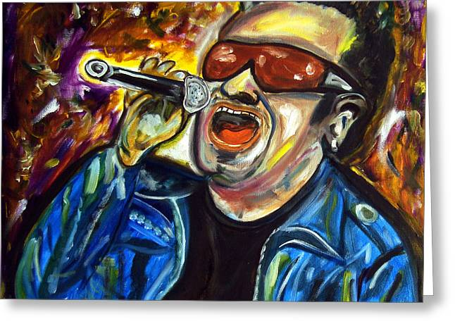 U2 Paintings Greeting Cards - Bono  Greeting Card by Azalea Millet