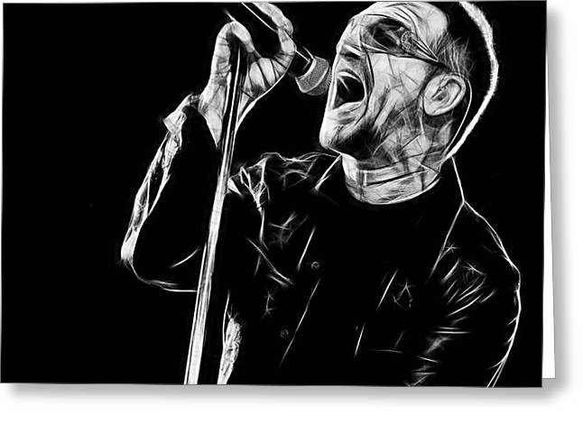 Irish Rock Band Greeting Cards - Bono U2 Collection Greeting Card by Marvin Blaine