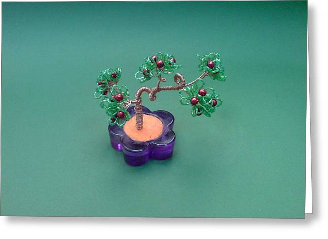 Seeds Sculptures Greeting Cards - Bonsai Wire Tree Sculpture Beaded Flowers      Greeting Card by Bujas Sinisa