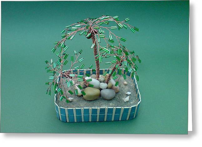 Handmade Sculptures Greeting Cards - Bonsai Wire Tree Sculpture Beaded Palm  Greeting Card by Bujas Sinisa