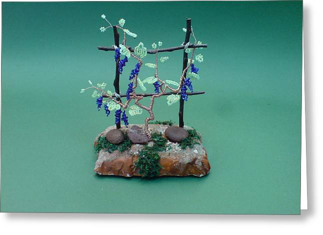 Fantasy Sculptures Greeting Cards - Bonsai Wire Tree Sculpture Beaded Vineyard      Greeting Card by Bujas Sinisa