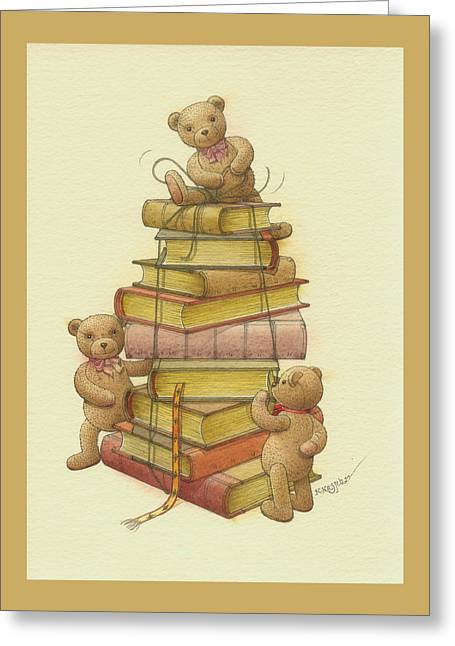 Child Toy Drawings Greeting Cards - Books and teddybears Greeting Card by Kestutis Kasparavicius