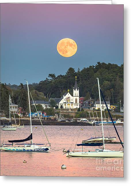 New England Ocean Greeting Cards - Boothbay Harbor Supermoon Greeting Card by Benjamin Williamson