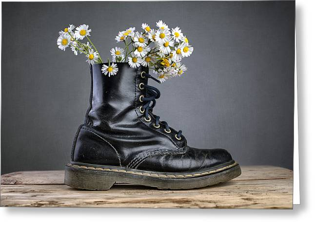 Boots Greeting Cards - Boots with Daisy Flowers Greeting Card by Nailia Schwarz