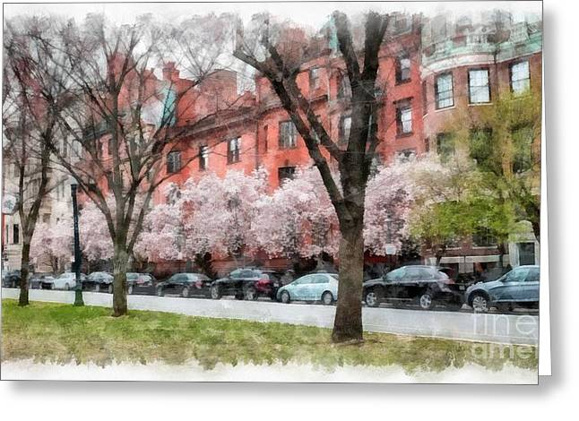 Back Bay Greeting Cards - Boston Back Bay in Spring Greeting Card by Edward Fielding