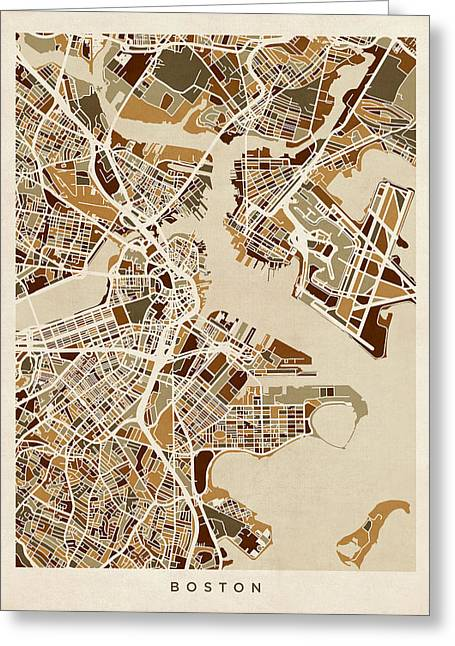 Streets Greeting Cards - Boston Massachusetts Street Map Greeting Card by Michael Tompsett