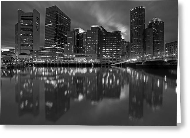 Boston Night Lights Greeting Card by Juergen Roth