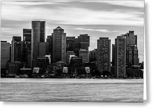 Outside Pictures Greeting Cards - Boston Skyline Black and White Panoramic Picture Greeting Card by Paul Velgos