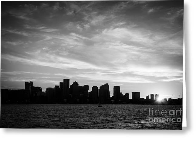 Boston Harbor Greeting Cards - Boston Skyline Black and White Photo Greeting Card by Paul Velgos