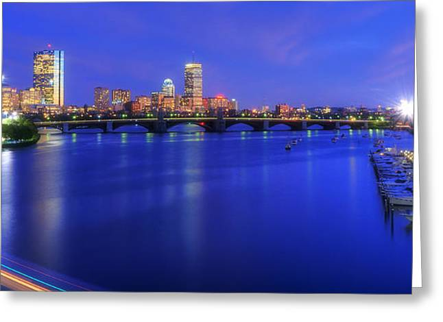 Charles River Greeting Cards - Boston Skyline Panoramic at Night Greeting Card by Joann Vitali