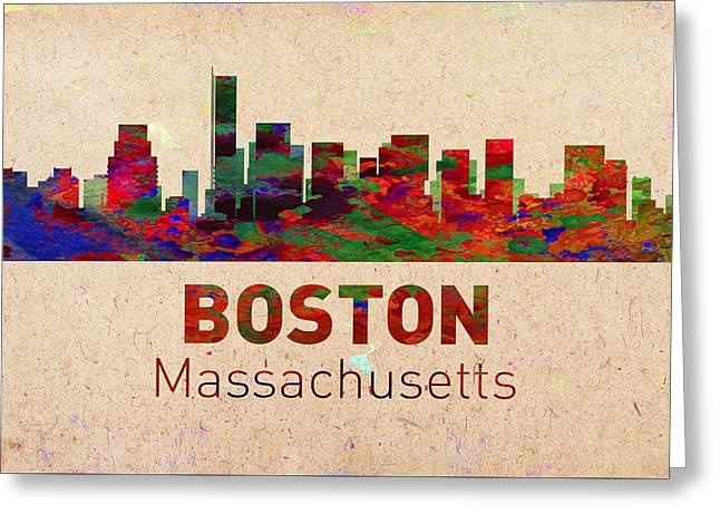 Seattle Skyline Greeting Cards Greeting Cards - Boston Skyline - Usa City Greeting Card by Michael Vicin