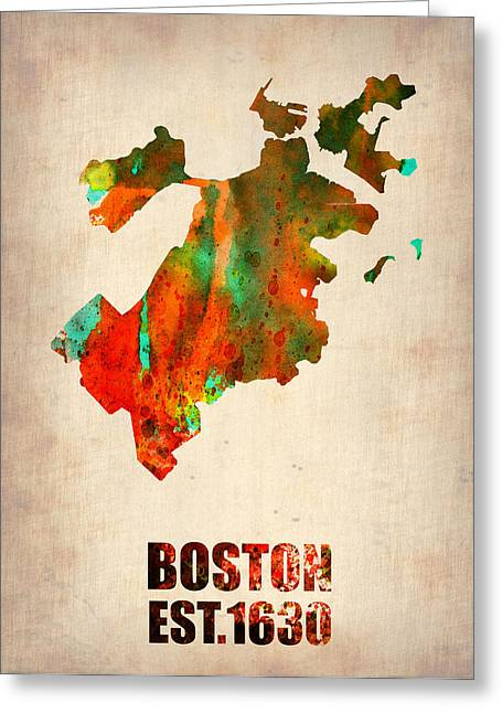 State Map Greeting Cards - Boston Watercolor Map  Greeting Card by Naxart Studio