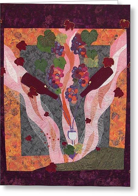 Wine Tapestries - Textiles Greeting Cards - Bounty Greeting Card by A Carole Atterbury