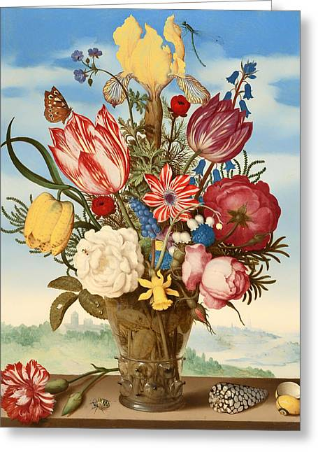 Ledge Greeting Cards - Bouquet Of Flowers On A Ledge Greeting Card by Ambrosius Bosschaert