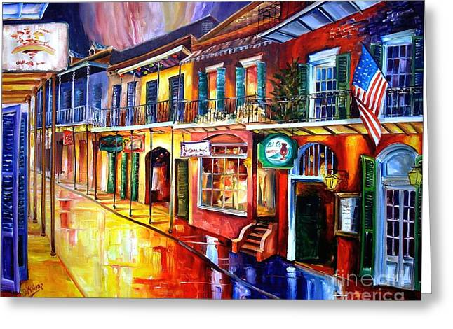 Street Lights Greeting Cards - Bourbon Street Red Greeting Card by Diane Millsap