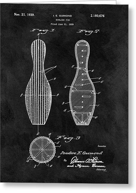 Bowling Pin Patent Greeting Card by Dan Sproul