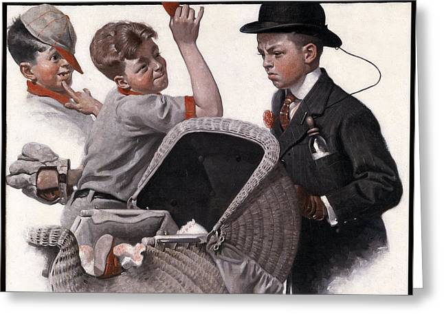 Baseball Gloves Paintings Greeting Cards - Boy With Baby Carriage Greeting Card by Norman Rockwell