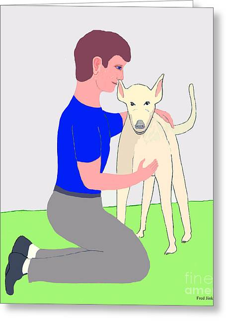 Dogs Digital Greeting Cards - Boy with Dog Greeting Card by Fred Jinkins